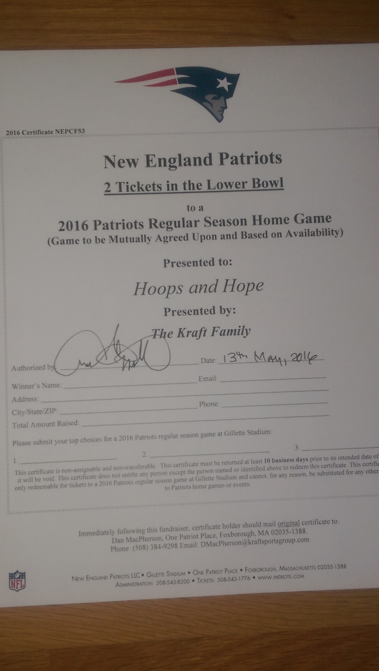 2017-2018 New England Patriots Ticket Package